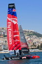 Th america s cup world series in naples emirate new zeland team catamaran the gulf of italy april Stock Image
