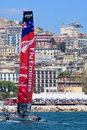 Th america s cup world series in naples emirates team new zeland catamaran the gulf of italy april Stock Photo