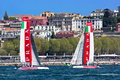 Th america s cup world series in naples luna rossa catamarans italy april Royalty Free Stock Photography