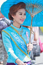 Th anniversary bosang umbrella festival in chiangmai province of thailand with woman traditional costume during the annual at san Stock Images