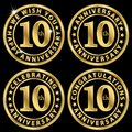 10th anniversary golden label set, celebrating 10 years annivers