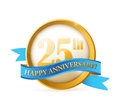 Th anniversary seal and ribbon illustration design over white Stock Photography