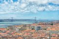 Th april bridge in lisbon portugal Royalty Free Stock Image
