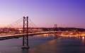 Th april bridge sunset lisbon Royalty Free Stock Photos