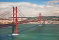 Th of april suspension bridge in lisbon portugal eutope over the tagus river Stock Photo