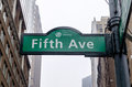 Th avenue sign new york in front of the public library Royalty Free Stock Photography