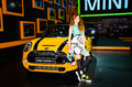 The th bangkok international motor show march unidentified model with mini cooper s car on display at on march in Royalty Free Stock Photo