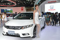 The th bangkok international motor show thailand apr unidentified female presenter with honda civic at honda pavilion in Royalty Free Stock Image