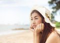 On th beach happy beautiful lady the Royalty Free Stock Photo