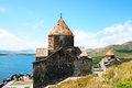 The th century armenian monastery of sevanavank at lake sevan Stock Images