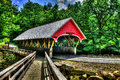 19th Century covered bridge with a wooden walk along side of it HDR. Royalty Free Stock Photo