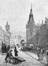Th century glasgow street scene from engraving from selections from the journal of john wesley Royalty Free Stock Image