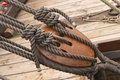 Th century ship rope tackle wooden block marine rigs and ropes Stock Images