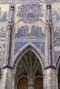 14th century St. Vitus Cathedral , facade, mosaic, Last Judgment, Prague, Czech Republic Royalty Free Stock Photo