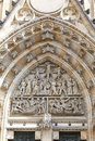 14th century St. Vitus Cathedral , facade, relief ,gothic portal Royalty Free Stock Photo