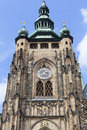 14th century St. Vitus Cathedral , facade, tower with clock, Prague, Czech Republic Royalty Free Stock Photo