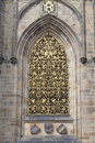 14th century St. Vitus Cathedral , facade, window with golden ornament, Prague, Czech Republic Royalty Free Stock Photo