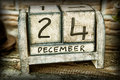 Th of december nice wooden calendar showing decmeber Stock Photography