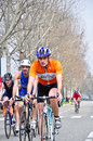 Th edition of turin s city trophy of triathlon april a group unidentified male athletes closes the bicycle race in the on Royalty Free Stock Images