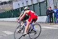 Th edition of turin s city trophy of triathlon april orla italy the winner female race during the bicycle race in the on Stock Image
