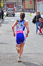 Th edition of turin s city trophy of triathlon april unidentified female athlete during the first lap run during the on Royalty Free Stock Photo