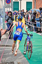 Th edition of turin s city trophy of triathlon april visaggi italy female athlete asd torino team closes the bicycle race in the Stock Photos