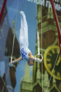 Th european championships in artistic gymnastics moscow russia april eleftherios petrounias greece finished exercise on still Stock Photos