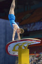Th european championships in artistic gymnastics moscow russia april petrus laulumaa finland performs vault final of moscow Stock Image