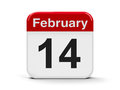 Th february calendar web button the fourteenth of three dimensional rendering Royalty Free Stock Photo