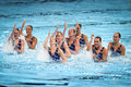 Th fina world championship syncro swimming technical team netherland during the performance in to the Royalty Free Stock Image