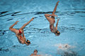 Th fina world championship syncro swimming technical team russia during the performance in to the Stock Photo