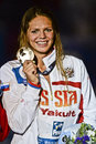 Th fina world championships barcelona russian swimmer efimova yuliya pictured during the Royalty Free Stock Photos