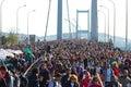 Th istanbul eurasia marathon people are crossing the bosphorus bridge from asia to europe during fun run on november in Royalty Free Stock Photos