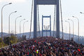 Th istanbul eurasia marathon people are crossing the bosphorus bridge from asia to europe during fun run on november in Stock Photo
