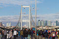 Th istanbul eurasia marathon people are crossing the bosphorus bridge from asia to europe during fun run on november in Royalty Free Stock Image
