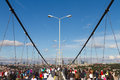 Th istanbul eurasia marathon people are crossing the bosphorus bridge from asia to europe during fun run on november in Stock Images