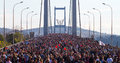 Th istanbul eurasia marathon people are crossing the bosphorus bridge from asia to europe during fun run on november in Royalty Free Stock Photos