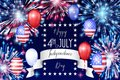 4th of July, American Independence Day celebration background with fire fireworks. Congratulations on Fourth of July. Royalty Free Stock Photo