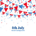4th of July, American Independence Day celebration greeting card with bunting in national flag color. Royalty Free Stock Photo