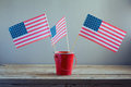 4th of July celebration with USA flags Royalty Free Stock Photo