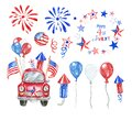 Watercolor 4th of July patriotic car. Hand painted red car with US flags, red, white and blue balloons and fireworks, isolated. Royalty Free Stock Photo