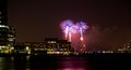 Th of july fireworks the over the hudson river Royalty Free Stock Photo