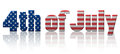 Th of july flag words fourth text in stars and stripes with reflection Stock Image