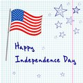 Th of july greating card vector on checked paper Stock Image
