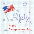 Th of july greating card vector illustration hand drawing with flag usa Royalty Free Stock Photos