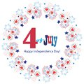 4th of July Happy Independence Day symbols icons card Patriotic American flag, stars fireworks confetti sign vector