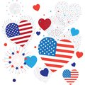 4th of July Happy Independence Day symbols icons set Patriotic American flag, stars fireworks confetti balloons ribbon pattern