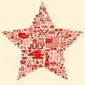 4th of July icon symbols collage illustration T-sh