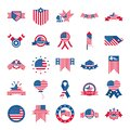 4th of july independence day, celebration honor memorial american flag icons set flat style icon