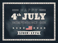 4th of July Independence day chalkboard background Royalty Free Stock Photo